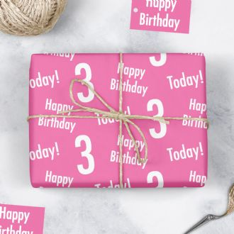 3rd Birthday Pink Gift Wrapping Paper & Gift Tags (1 Sheet & 2 Tags) - 'Happy Birthday' - '3 Today!'